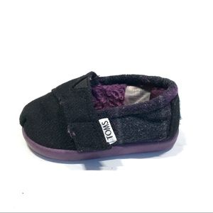 TOMS Black Purple Buffalo Plaid Velcro Classics 3